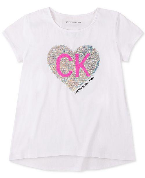 Calvin Klein Big Girls Cotton Flip-Sequins Heart T-Shirt