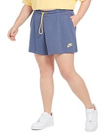 Plus Size Icon Clash Drawstring-Waist Shorts