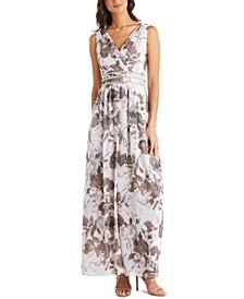 Rhinestone-Trim Chiffon Gown