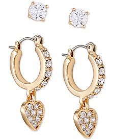 Gold-Tone 2-Pc. Set Crystal Heart Earrings