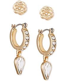 Gold-Tone 2-Pc. Set Crystal Flower Earrings
