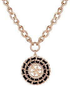"Gold-Tone Black Woven Pendant Necklace, 16"" + 2"" extender"