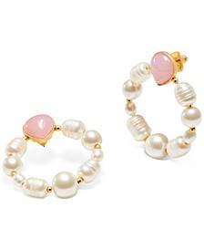Gold-Tone Semi-Precious Stone & Imitation Pearl Door Knocker Earrings