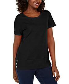 Karen Scott Button-Hem Scoop-Neck Cotton Top, Created for Macy's