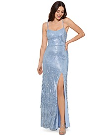 Tie-Back Sequin-Fringe Gown