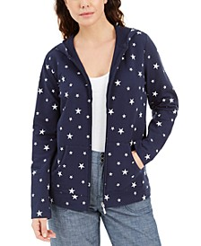 Petite Star-Print Zippered Hoodie, Created for Macy's