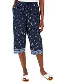 Petite Sailboat Border-Print Capri Pants, Created for Macy's