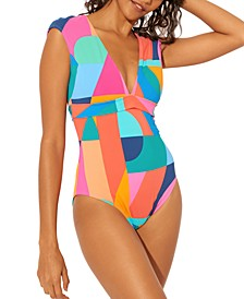 Cap-Sleeve One-Piece Swimsuit