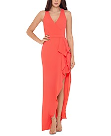V-Neck Ruffle-Front Gown