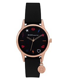 Ladies 3 Hands Slim Black Silicone Strap Watch, 33 mm Case