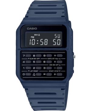 Unisex Digital Calculator Blue Resin Strap Watch 34.4mm