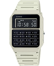 Unisex Digital Calculator White Resin Strap Watch 34.4mm