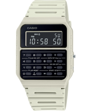 Unisex Digital Calculator White Resin Strap Watch 34.4mm