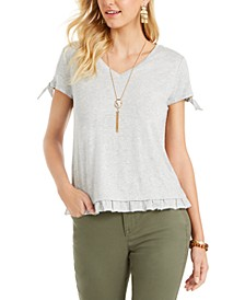 Ruffled-Hem Tie-Sleeve Top, Created for Macy's