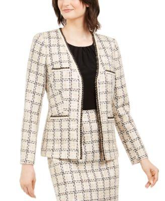 Karl Lagerfeld Paris Womens Tweed Button Up Jacket