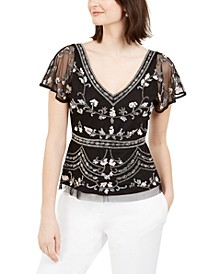 Embellished Flutter-Sleeve Top