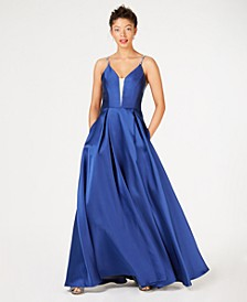 Juniors' Rhinestone Illusion Gown, Created for Macy's