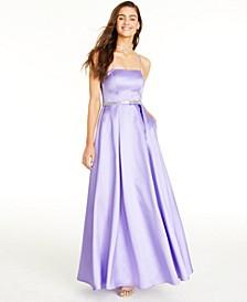 Juniors' Rhinestone-Waist Gown