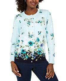 Petite Riverdale Terrace Floral-Print Cardigan, Created for Macy's