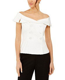 Off-The-Shoulder Tuxedo Top
