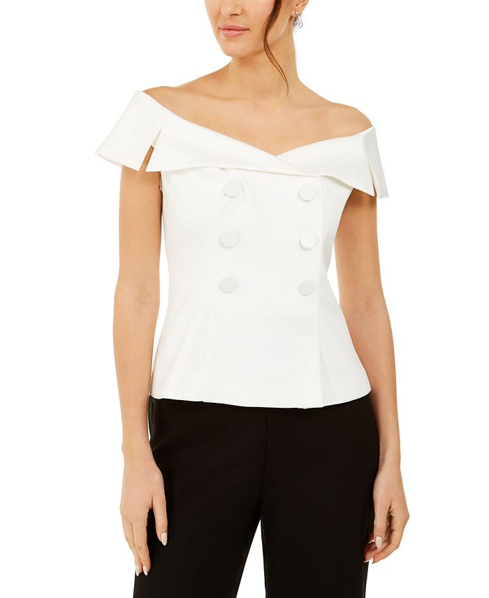 Adrianna Papell - Off-The-Shoulder Tuxedo Top
