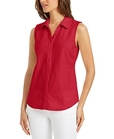 Cotton Pique Sleeveless Shirt, Created for Macy's