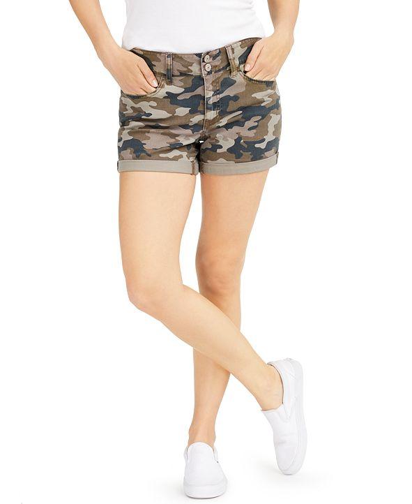 Rewash Juniors' Cuffed Camo-Printed Denim Shorts
