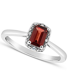 Garnet (3/4 ct. t.w.) and Diamond Accent Ring in Sterling Silver (Also Available in Other Gemstones)