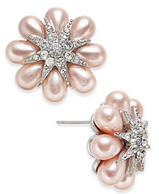 Silver-Tone Crystal & Imitation Pearl Flower Button Earrings, Created for Macy's