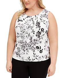 Plus Size Pleated-Neck Top