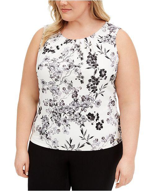 Calvin Klein Plus Size Pleated-Neck Top