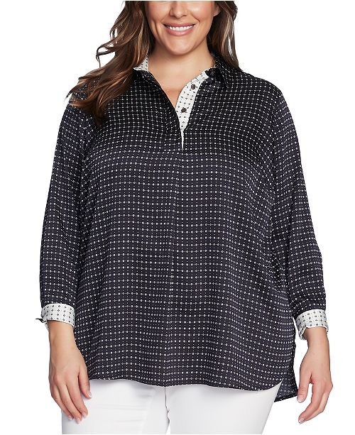 Vince Camuto Plus Size Printed Split-Neck Top