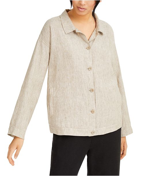 Eileen Fisher Classic Collared Linen Jacket