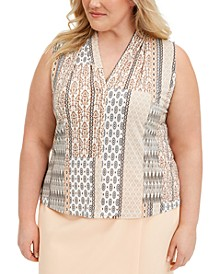 Printed Pleated-Neck Blouse