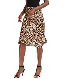 INC Leopard Midi Skirt, Created for Macy's