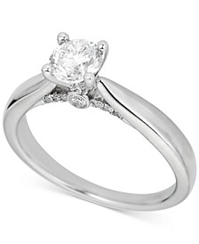 Round Solitaire Diamond Engagement Ring (3/4 ct. t.w.) in Platinum