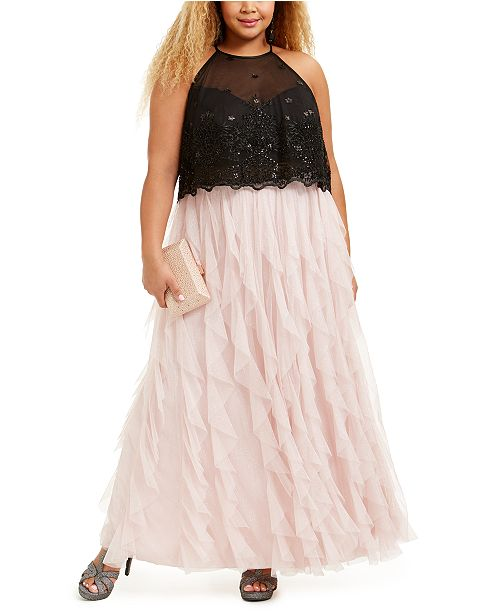 Teeze Me Trendy Plus Size Glitter-Mesh Gown