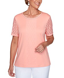 Classics Lace-Trimmed Embellished Top