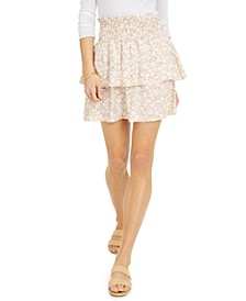 Juniors' Printed Tiered Smocked-Waist Mini Skirt