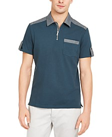 INC Men's Colorblocked Zip Polo Shirt, Created for Macy's