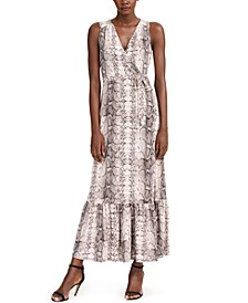 INC Petite Python-Print Flounce Maxi Dress, Created for Macy's