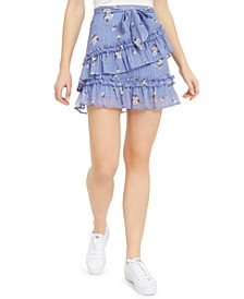 Juniors' Printed Ruffle Tiered Mini Skirt