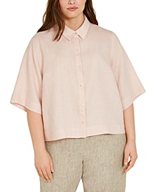 Plus Size Linen Button-Down Shirt