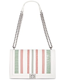 INC Ajae Croco-Striped Flap Crossbody, Created for Macy's