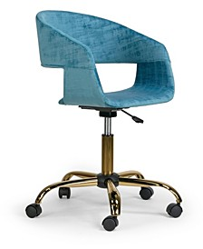 Amani Velvet Office Chair with Metal Base