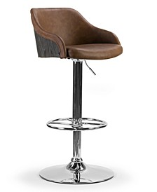 Amada Upholstered Adjustable Height Barstool with Plywood Back