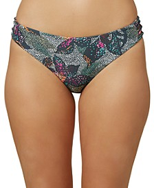 Juniors' Sandrine Printed Strappy-Side Bikini Bottoms