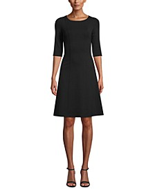 Fit & Flare 3/4-Sleeve Dress
