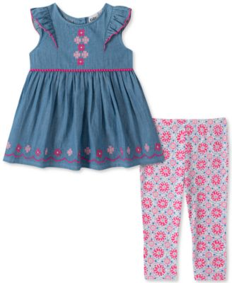Kids Headquarters Infant Girl Purple Shirt Faux Fur Vest Heart Leggings