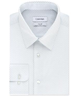 Calvin Klein Men's Steel+ Classic/Regular-Fit Non-Iron Performance Stretch Blue Geo Dot-Print Dress Shirt
